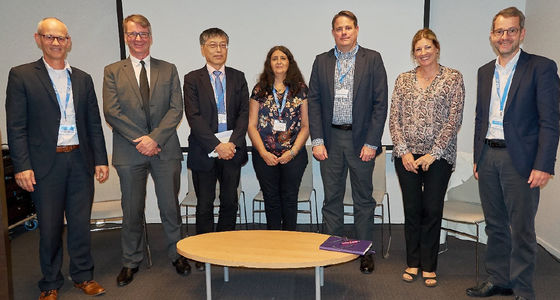 The picture shows all presenters from the left: Peter van der Vlugt, Dr. Michael Sharpe, Antonio Kung, Michelle Wetterwald, Jim Wilson, Claire d'Esclercs and Norbert Schlingmann. AEF Conference Day: Partnering with others in Digital Landscape
